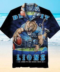 1934 Detroit Lions Nfl Hawaiian Graphic Print Short Sleeve Hawaiian Shirt L