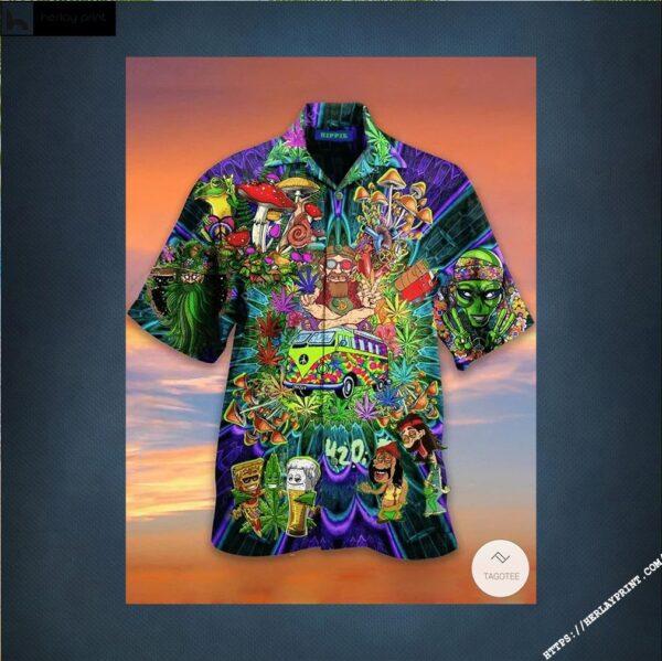 420 Weed Hippie Peace Hawaiian Shirt