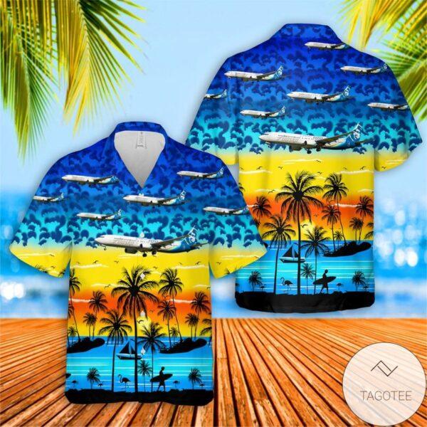 Alaska Airlines Boeing 737 990ER Hawaiian Shirt Beach Shorts