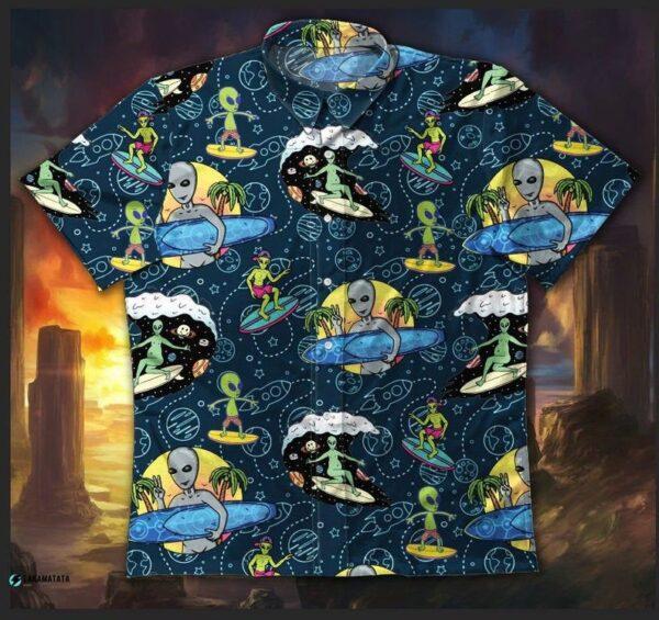 Alien Surfing Space Sci-fi Hawaii Shirt