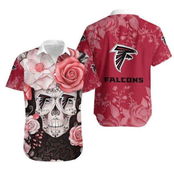 Atlanta Falcons Skull NFL Gift For Fan Hawaiian Graphic Print Short Sleeve Hawaiian Shirt