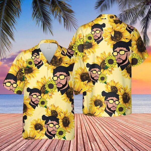 Bad-Bunny Sunflower Hawaiian Aloha shirt