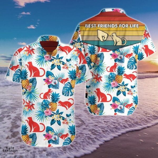 Cat Best Friends For Life Animal Lover Hawaii Shirt