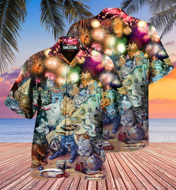 Cat New Years Party Of The Cats Edition - Hawaiian Shirt