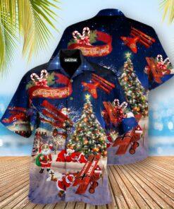 Christmas No Reindeer Any More Santa Loves Airplane Edition - Hawaiian Shirt