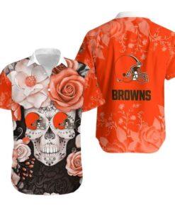 Cleveland Browns Skull NFL Gift For Fan Hawaiian Graphic Print Short Sleeve Hawaiian Shirt