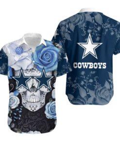 Dallas Cowboys Skull NFL Gift For Fan Hawaiian Graphic Print Short Sleeve Hawaiian Shirt
