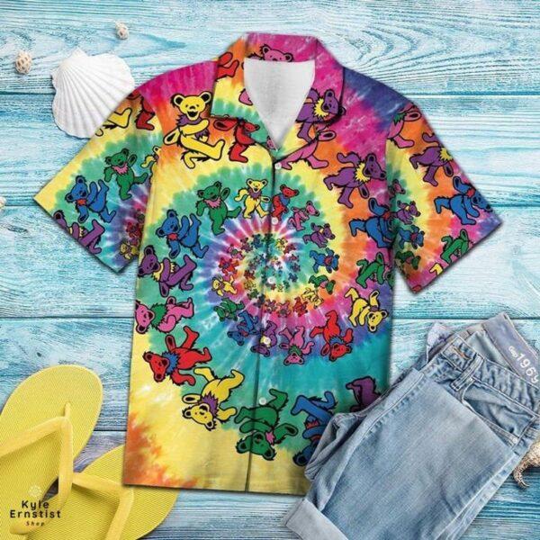 Dancing Bear Tie Dye Grateful Dead Rock Music Hawaii Shirt