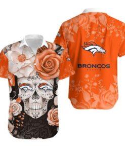 Denver Broncos Skull NFL Gift For Fan Hawaiian Graphic Print Short Sleeve Hawaiian Shirt