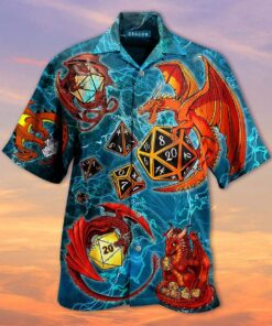 Dragon Playing Dice Hawaiian Aloha shirt,