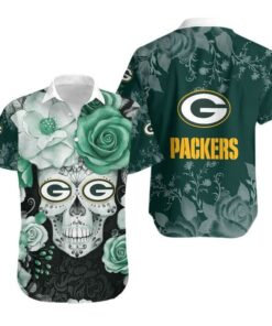 Green Bay Packers Skull NFL Gift For Fan Hawaiian Graphic Print Short Sleeve Hawaiian Shirt