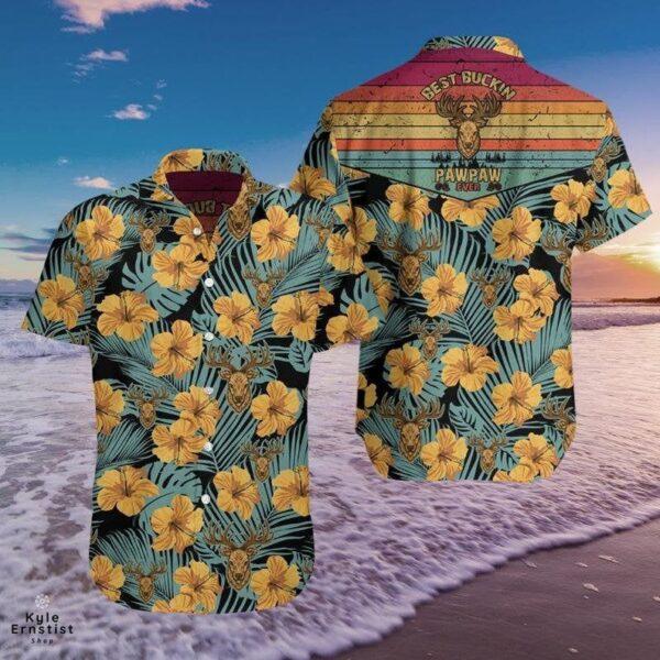 Hunting Best Buckin Pawpaw Hibiscus Flower Cool Hawaii Shirt