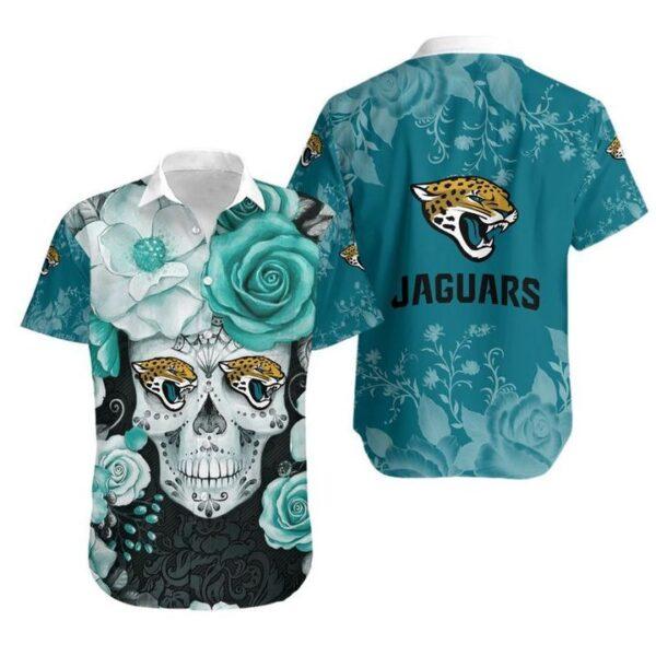 Jacksonville Jaguars Skull NFL Gift For Fan Hawaiian Graphic Print Short Sleeve Hawaiian Shirt