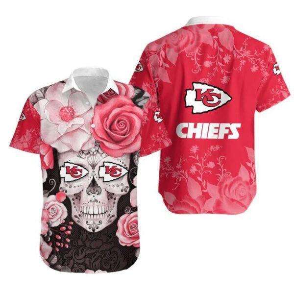 Kansas City Chiefs Skull NFL Gift For Fan Hawaiian Graphic Print Short Sleeve Hawaiian Shirt