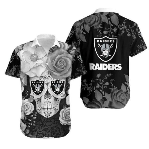 Las Vegas Raiders Skull NFL Gift For Fan Hawaiian Graphic Print Short Sleeve Hawaiian Shirt