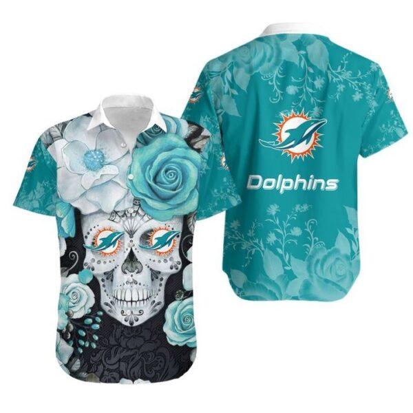 Miami Dolphins Skull NFL Gift For Fan Hawaiian Graphic Print Short Sleeve Hawaiian Shirt