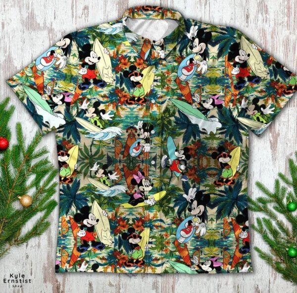 Mickey And Minnie Surfing Disney Cartoon Hawaii Shirt