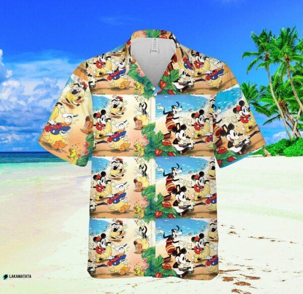 Mickey Mouse Disney Cartoon Movie Floral Aloha Hawaiian Shirt