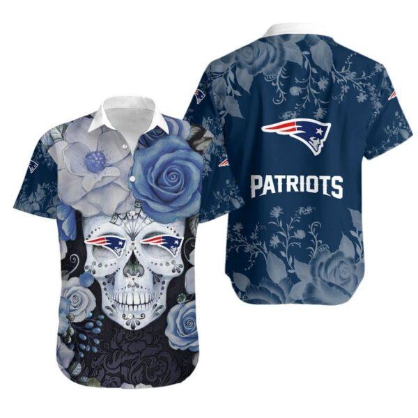 New England Patriots Skull NFL Gift For Fan Hawaiian Graphic Print Short Sleeve Hawaiian Shirt