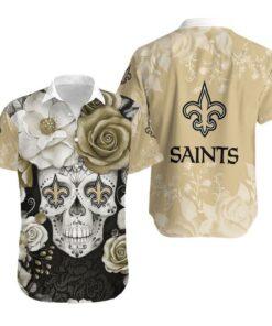 New Orleans Saints Skull NFL Gift For Fan Hawaiian Graphic Print Short Sleeve Hawaiian Shirt