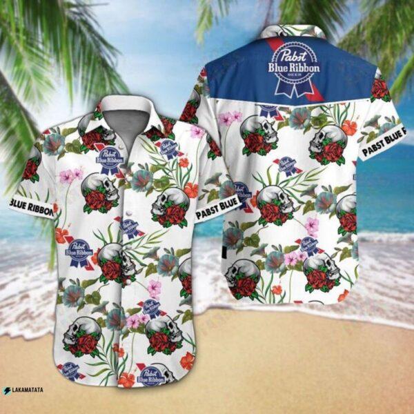 Pabst Blue Ribbon Flower Skull Horror Beer Drink Hawaii Shirt