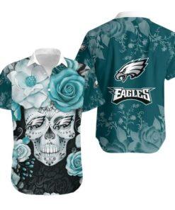 Philadelphia Eagles Skull NFL Gift For Fan Hawaiian Graphic Print Short Sleeve Hawaiian Shirt