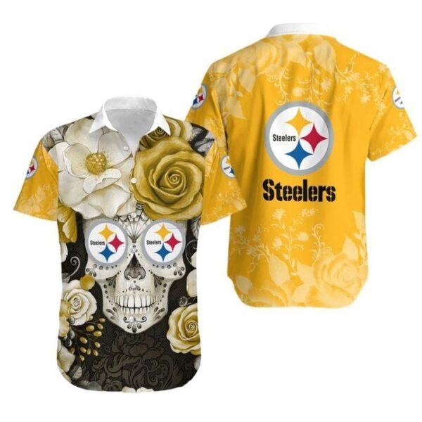 Pittsburgh Steelers Skull NFL Gift For Fan Hawaiian Graphic Print Short Sleeve Hawaiian Shirt