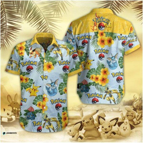 Pokemon Eevee Evolution Cartoon Movie Floral Hawaii Shirt