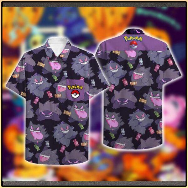 Pokemon Gengar Hawaiian Aloha shirt