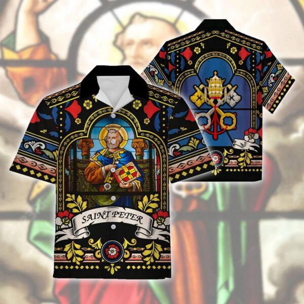 Pope St Peter Stained Glass Hawaiian Aloha shirt