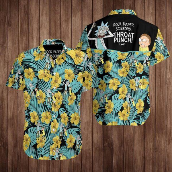 Rick And Morty Rock Paper Scissors Hawaiian shirt