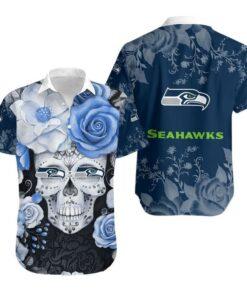 Seattle Seahawks Skull NFL Gift For Fan Hawaiian Graphic Print Short Sleeve Hawaiian Shirt