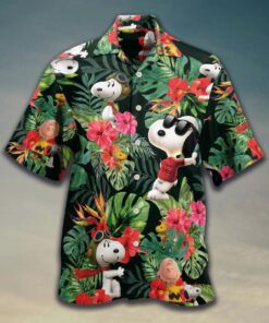 Snoopy And Woodstock Tropical Pattern Summer Vacation Hawaii Shirt