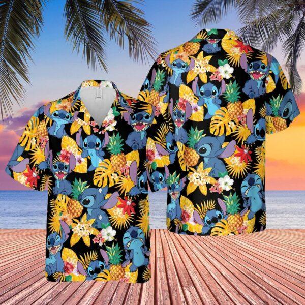 Stitch And Lilo Pineapple Hawaiian shirt
