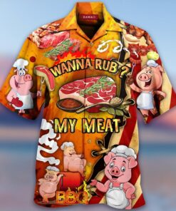 Wanna Rub My Meat Funny Barbecue Hawaiian Aloha shirt