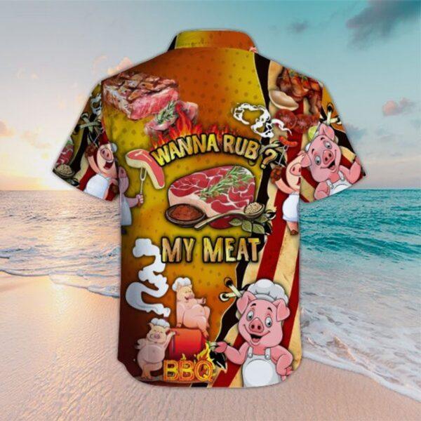 Wanna rub my meat funny barbecue hawaiian shirts