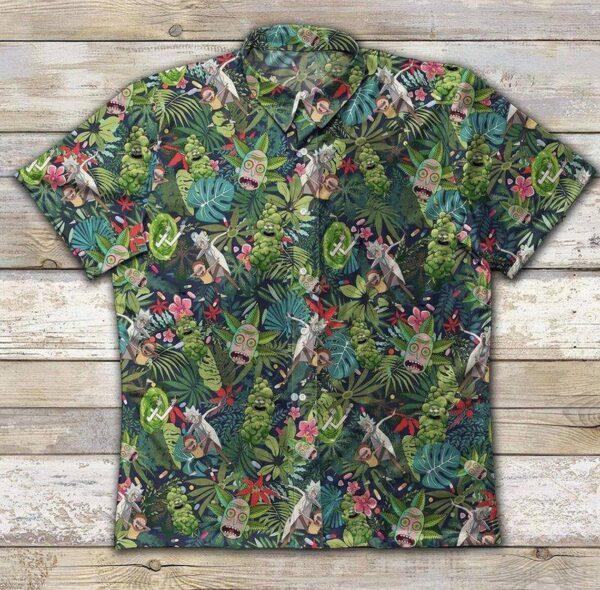 Weed Rick And Morty Smoke Hawaiian Aloha shirt