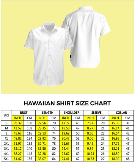 hawaiian shirt size chart