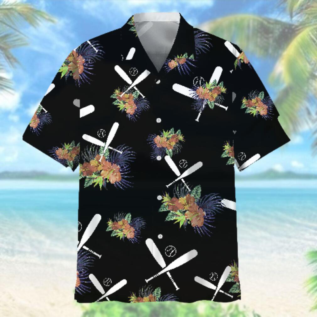 Baseball Hawaiian Nature Black Hawaiian Shirt