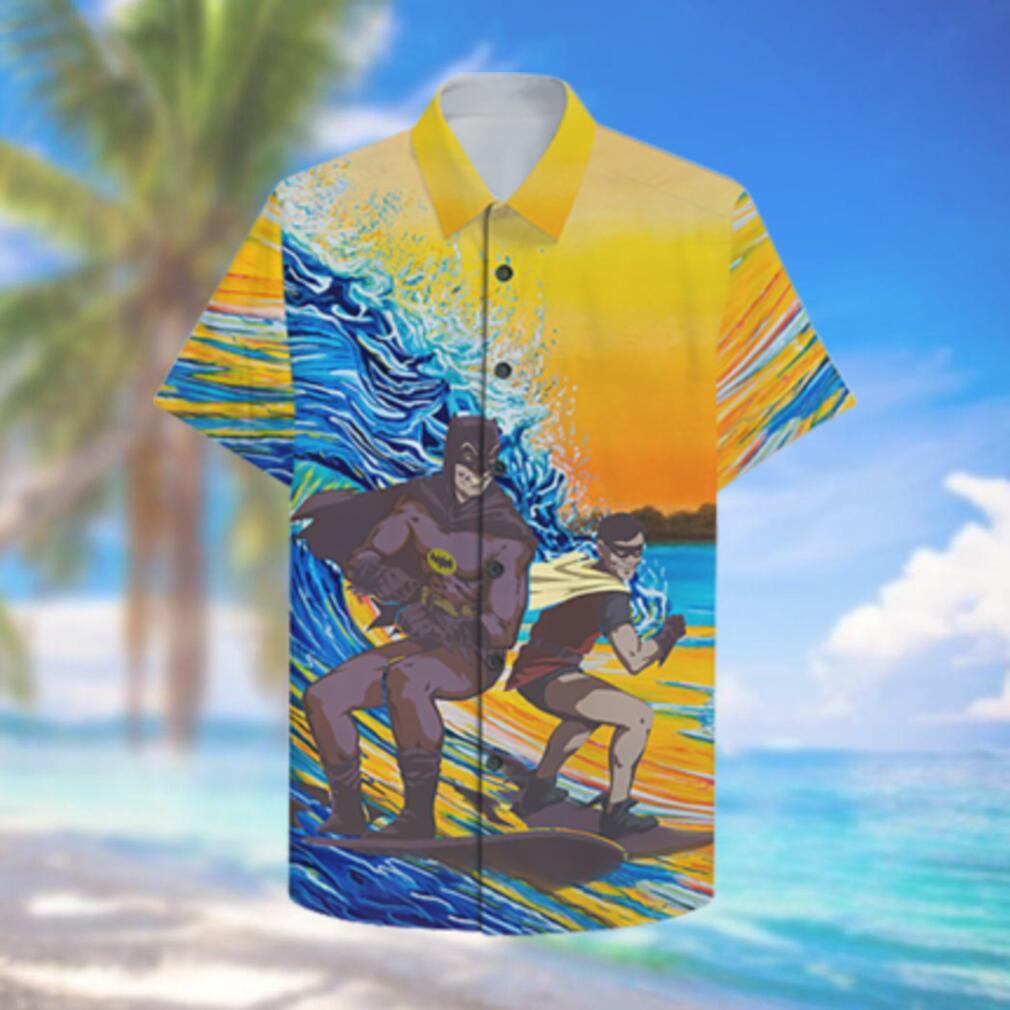 Batman and Robin Surfing Hawaiian Shirt and Summer Shorts Hawaiian Shirts