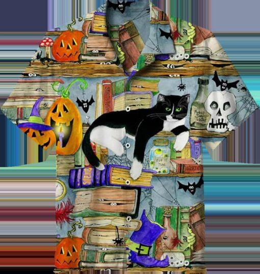 Halloween House Cat Hawaiian Shirts