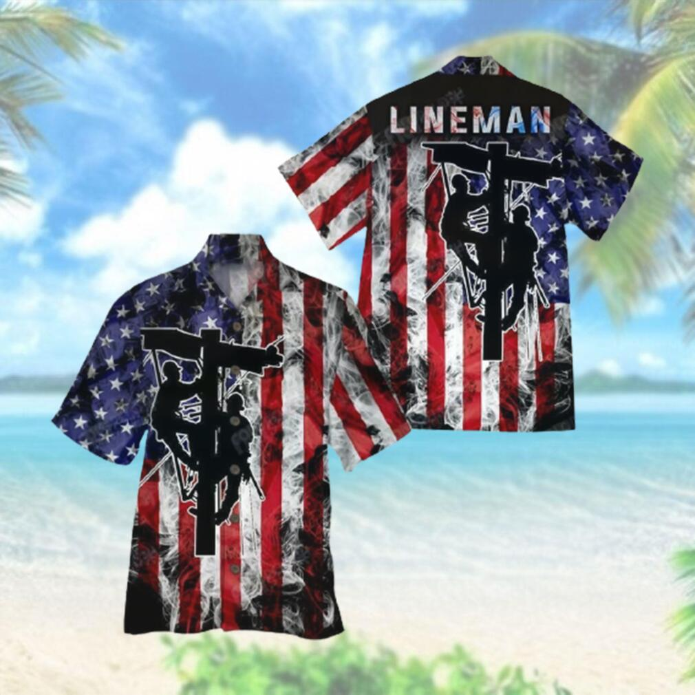 Lineman Flag Smoke Background Hawaiian Hawaiian Shirt
