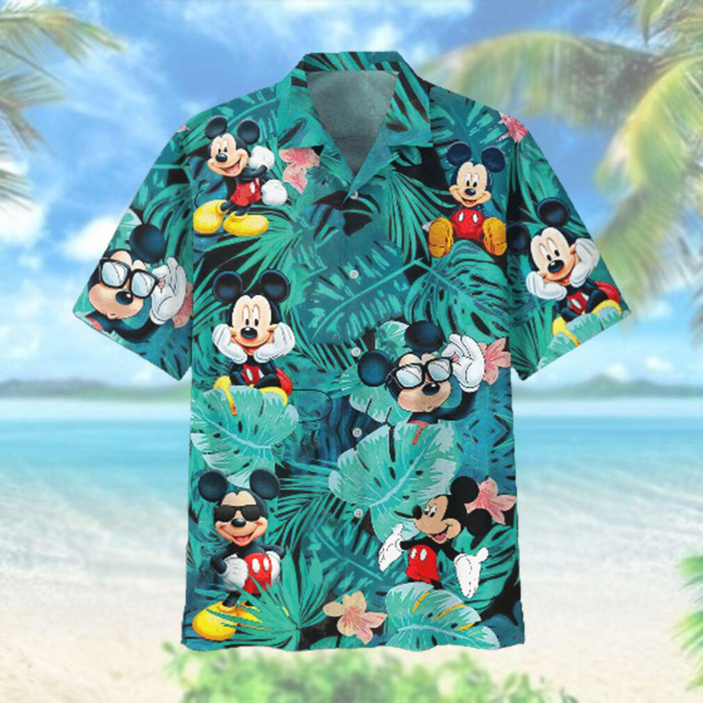 Mickey Mouse Flowers And Leaves Adult Hawaiian Hawaiian Shirt