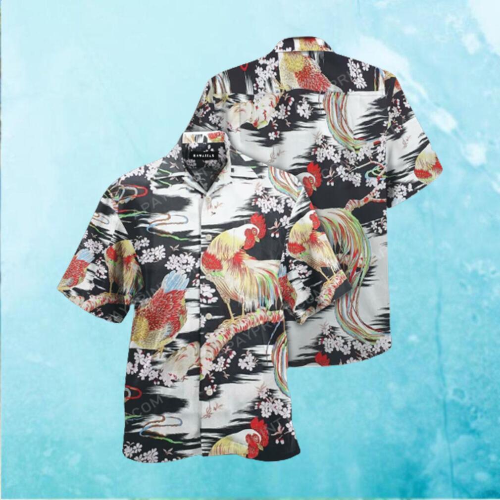 Rayon Crepe Japanese Chicken Onaga Dori Hawaiian Hawaiian Shirt