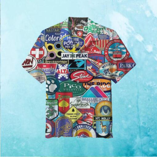 Ski Badges Areas Hawaiian Shirt
