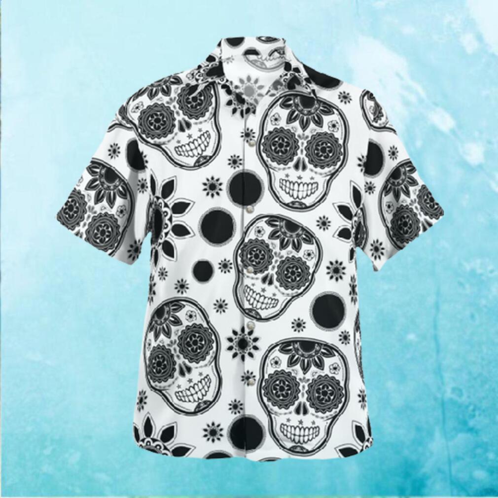 Skull Face Black and White Hawaiian Hawaiian Shirt