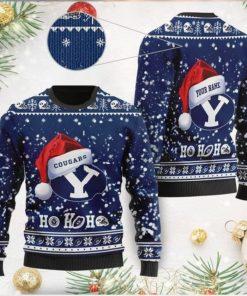 BYU Cougars NCAA Symbol Wearing Santa Claus Hat Cute Pattern Ho Ho Ho Custom Personalized Ugly Christmas Sweater Wool Shirt