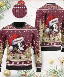Florida State Seminoles NCAA Symbol Wearing Santa Claus Hat Cute Pattern Ho Ho Ho Custom Personalized Ugly Christmas Sweater