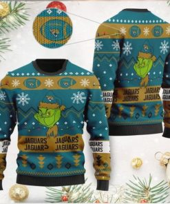 Jacksonville Jaguars American NFL Football Team Logo Cute Grinch 3D Men And Women Ugly Sweater Shirt For Sport Lovers On Christmas Days