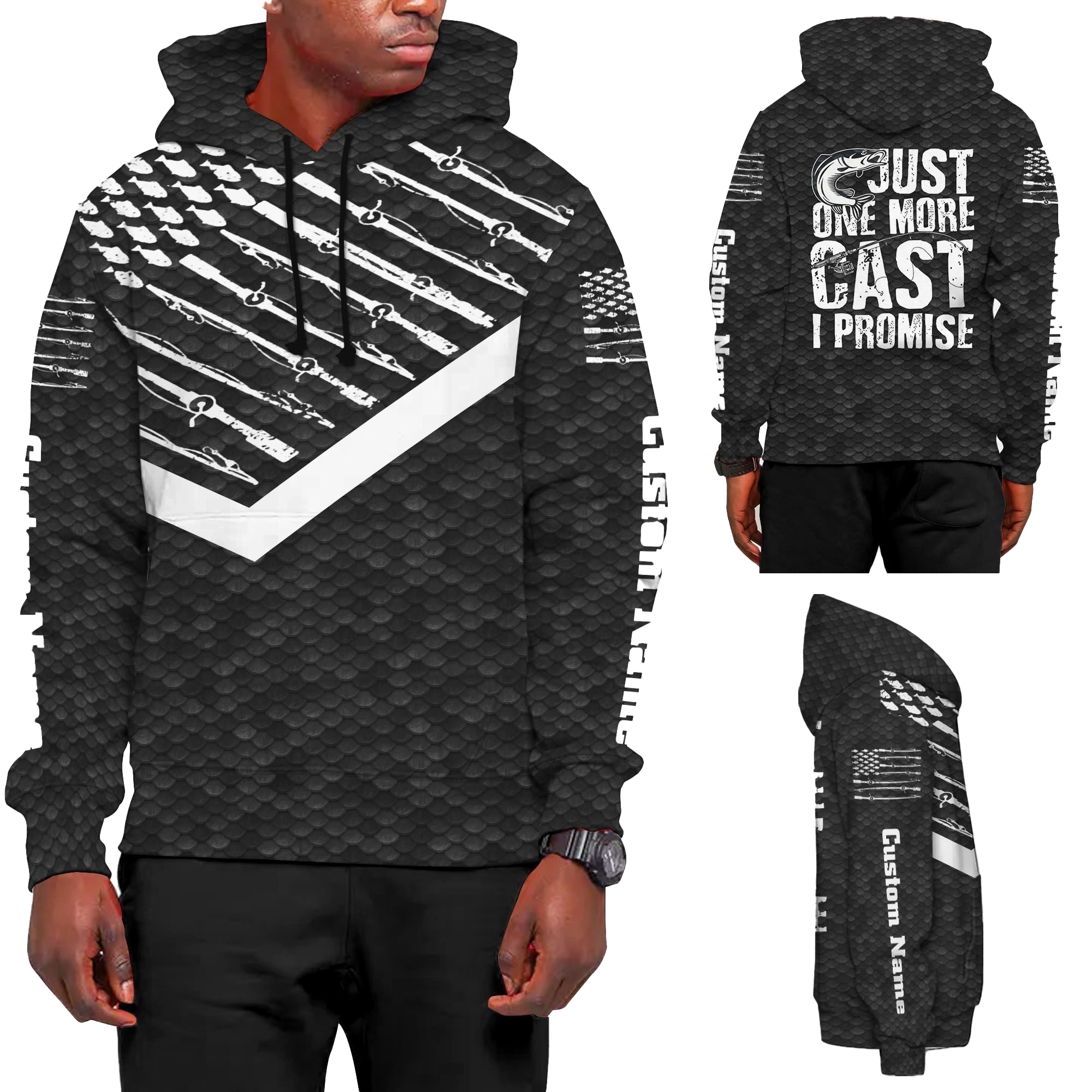 Just One More Cast I Promise Fish Scales Pattern Retro Style Custom Name 3D All Over Print Hoodie Shirt For Fishermenz